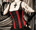 Rue Morgue Striation Strap Corset by Heavy Red Couture