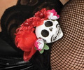 Day-of-the-Dead Fishnet Gloves With Skull And Roses