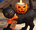 Black Cat with Pumpkin Votive - Standing