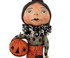 Goth Girl with Pumpkin Figurine