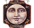 Vintage Moon Halloween Greetings Sign