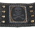 Leather Cuff Studded Bracelet - Antique Skull