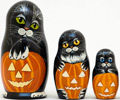 Black Cats Matryoshka (Russian Nesting Doll) 5-pieces 5""
